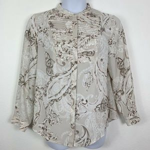 Chicos Womens 2 Large Blouse Long Sleeve Button